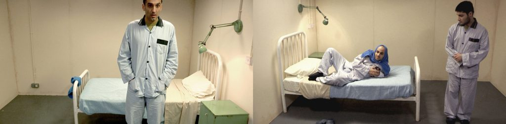 Split screen image of three soldiers in pyjamas in army style hospital room