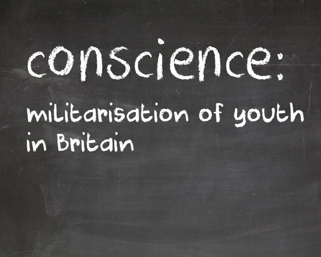Words in chalk on a blackboard: conscience: militarisation of youth in Britain